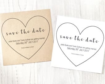 Wedding Save The Date Heart cards Invitations
