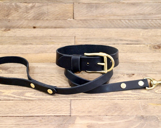 Collar and leash set, Raven, Dog collar, Leather leash, Brass hardware, FREE ID TAG, Handmade leather collar, Leash, Collar, leather, Black.