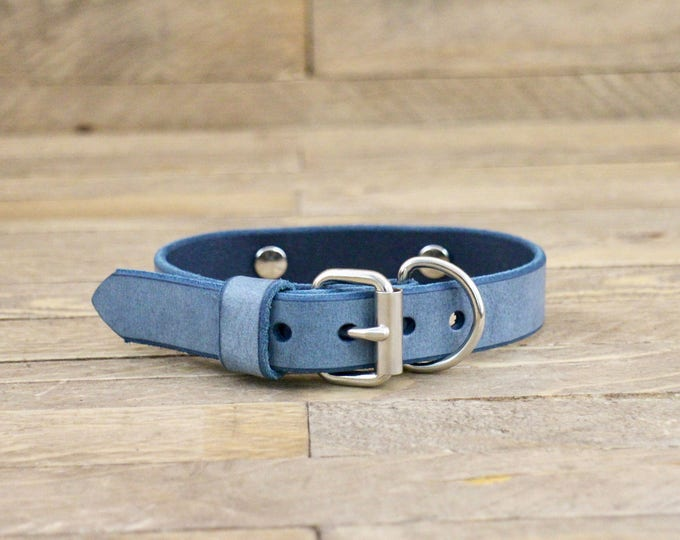 Collar, Classic collar, Cow leather collar, Cloudy sky colour dog collar, Handmade collar, Dog collar, Minimal collar, Sturdy collar.