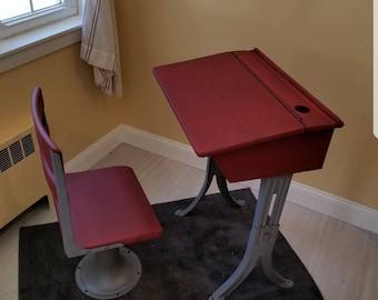 Refinished Vintage School Desk