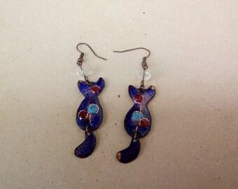 Enamels on copper - cat themed earrings
