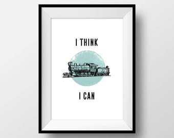"""Vintage Puns, """"I Think I Can"""", Funny, Train, Little Engine, Cute, Joke, Motivational, Hipster, Minimal, Blue, Digital"""
