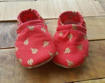 Gold, dark coral, ladybugs  Moccasins, baby crib shoes, soft sole