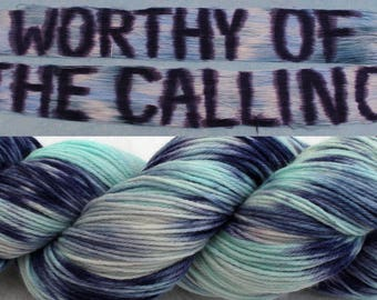 Sarah Koontz #worthyofthecalling Bible Study Scripture Yarns. 'Worthy of the Calling' 4ply (sock weight) In blues & navy with hints of lilac