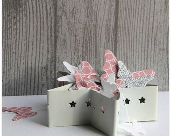 Pink paper Butterfly Garland / white / glitter to hang