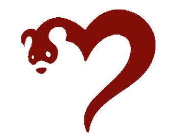Red Ferret Heart Cross Stitch