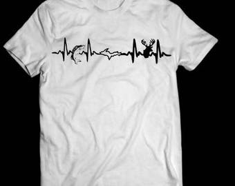 Upper Michigan hunting shirt, white, heartbeat shirt, tshirt