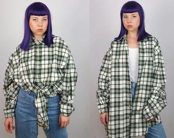 EDDIE BAUER Vintage 90's Unisex Plaid Over-sized Boyfriend Shirt   Men's Size XL