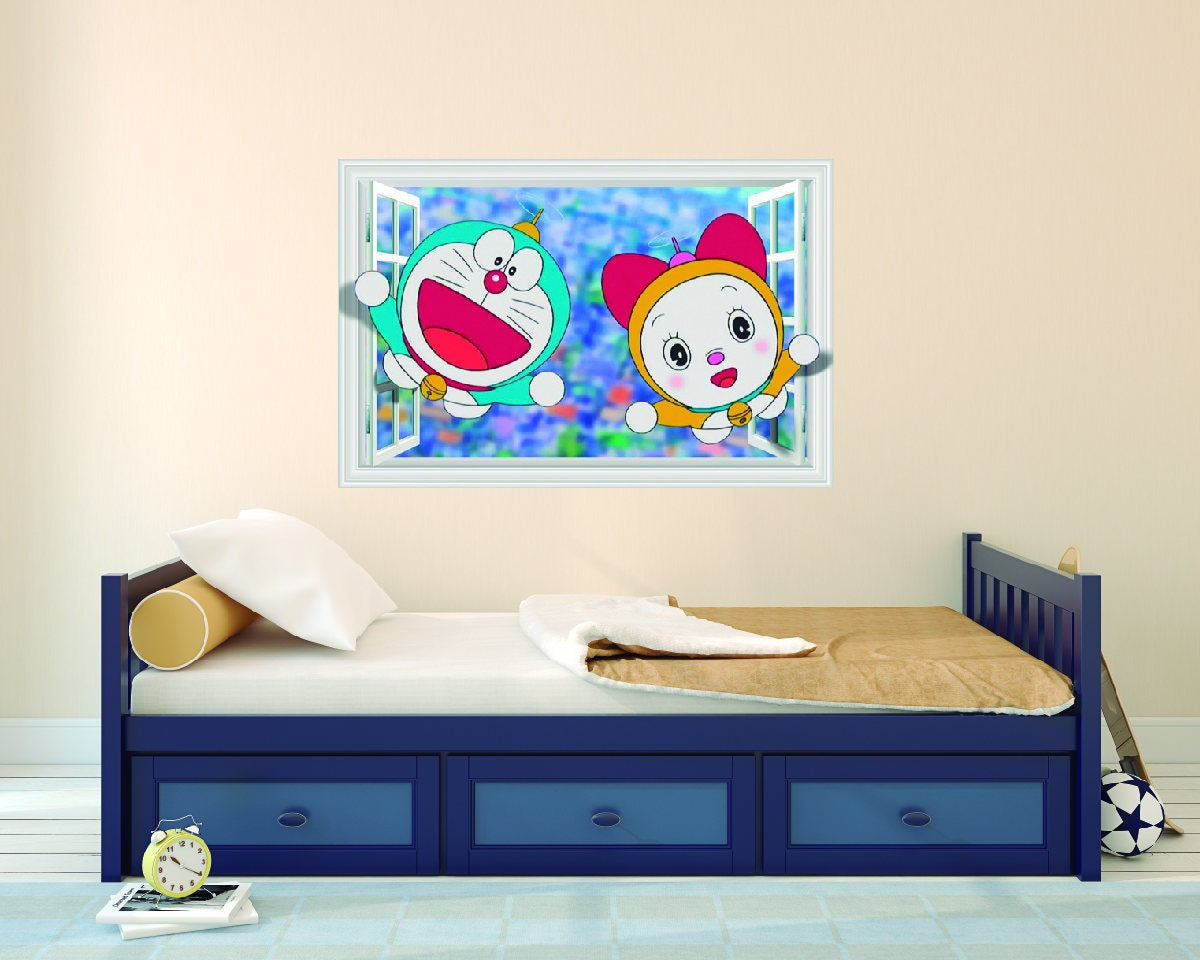 Doraemon Window D Effect Wall Decal For Room Boys Girls Unisex - 3d effect wall decals