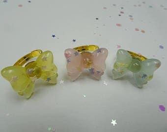 Pastel Bow Ring Set