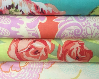 Half Yard Fabric Bundle - Amy Butler Fabric - Bliss Bouquet - Sandlewood - Tumble Roses Tangerine - Fresh Poppies - Sale Fabric by the Yard