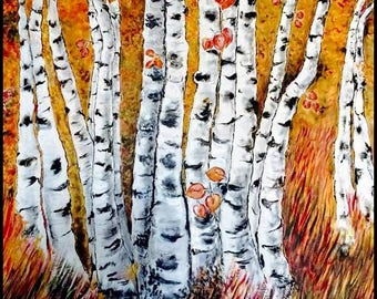 Aspen Trees Original Abstract Painting Modern Thick Textured Painting Impasto Landscape Textured Modern Palette Knife Painting, on Canvas