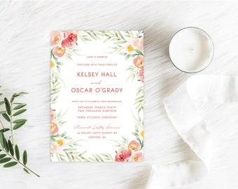 Wedding Invitation + RSVP / Personalised with your Guests Names / Floral, Pastel, Watercolour, Pink & Peach / Printable or Printed