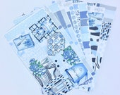 NEW FORMAT. Shades of Blue planner stickers for use in Erin Condren planners, weekly planner kit, personal planner stickers, Happy Planner