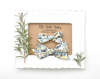 Rifle Paper Co Tapestry Schoolgirl Hair Bow - Hand-tied hairbow-Evy bow -Cotton Baby Headband - Newborn Hairbow - Toddler Hair Clip