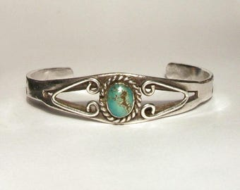 Sterling Silver Turquoise Bangle Vintage Navajo Cuff Bracelet Native American Indian Petite Small Size
