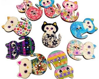 Cat Buttons, Wooden Cat Buttons, Wooden Buttons, Kitty Buttons, Small Wooden Cats, Kitty Button, Kitten Buttons, Childrens Buttons, Cats
