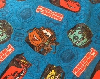 "Cars redline racing team FLANNEL fabric, By the Half Yard, 42"" wide, 100% cotton, cars movie - speed mcqueen - tow mater - vintage fabric"