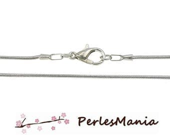 Finish jewelry necklace 1 snake chain 1 mm silver plate with lobster clasp