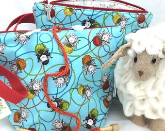 Knitting bag, Knitting Project Bag, Sheep knitting Bag, Sock Project Bag,