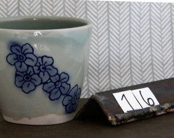 Forget-Me-Not Cup/ Dishware/ Floral/ Tumbler/ Forget Me Not/ Flower/ Blue/ Ceramic # 16