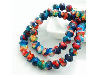 set of 10 marbled multicolored 8 mm crystal glass beads