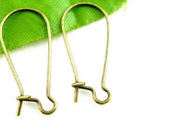 set of 20 bronze 24 mm x 11 mm ear hooks