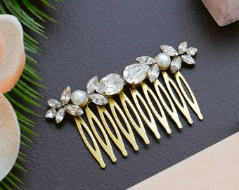 Bridal Hair Comb - Delicate Swarovski Crystals & Pearls - Silver or Gold - Made to Order