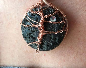 Copper pendant with lava stone hand crafted