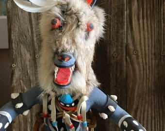 "Gray Wolf Kachina Doll Hopi 16 1/2"" Wood Native American Hand Carved R. Mitchell"