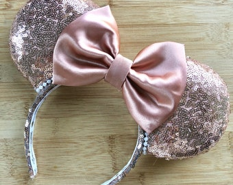 Rose Gold ears, rose gold minnie ears, rose gold mouse ears, rose gold disney ears