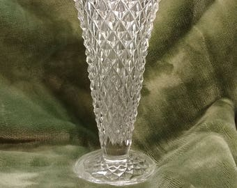 Rare Cut-Crystal Vase, Strong texture with irradescent hew. footed vase, forstoria glass