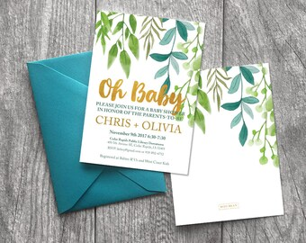 Oh Baby, Baby Shower Invitation, Neutral Baby Shower, Jack And Jill, Baby