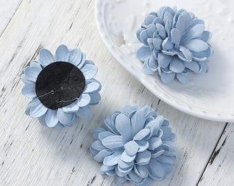 "3 big flowers fabric ""Blue"" 3.7 cm"