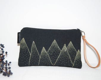 Black and gold Kit / hand embroidered pouch with logo / mountains / leather strap / black fabric pouch / fabric old stained
