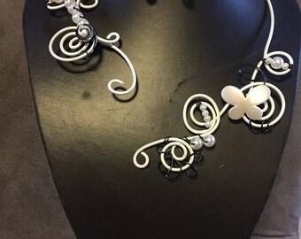 WEDDING 2 piece jewelry set black and ecru