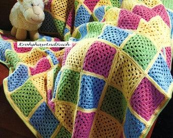 Granny Square Blanket, Crochet Pattern. PDF Instant Download.