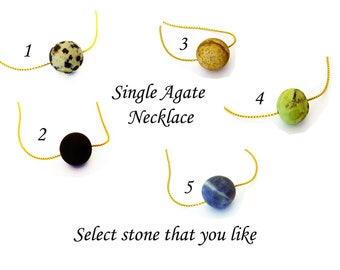 Single Bead Necklace, Agate Simple Floating Necklace, Sterling Silver or 18K Gold Filled Snake Chain, Agate in various colors