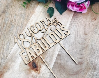 CLEARANCE! 1 ONLY Timber 18 years of Fabulous Cake Topper 18th Birthday Cake Topper Cake Decoration Cake Decorating Birthday Cakes 18 Cake T