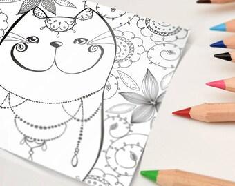 Postcard | coloring cat bohemian | 15 x 15 cm