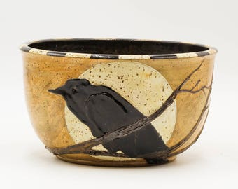 Crow & Full Moon Bowl | Serving Bowl | Pottery | Ceramic | Stoneware | Pottery Bowl | Ceramic Bowl | Stoneware Bowl | Handmade Pottery