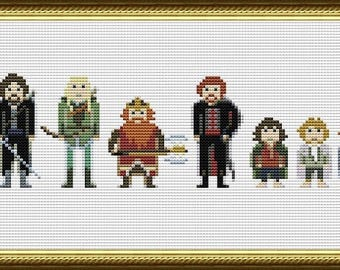 LOTR Cross stitch pattern Lord of the rings Embroidery design Pixel People Gandalf Frodo Aragorn Legolas Tolkien Sewing machine chart Hobbit
