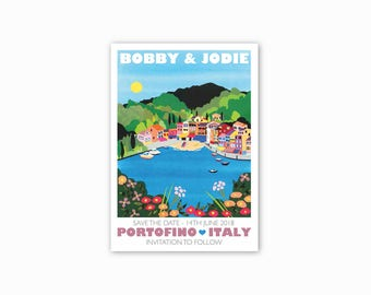 Portofino, Italy Save the dates - Single sided, with envelopes. Sea, coloured buildings, colourful save the date, illustrated stationery