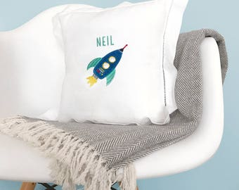 Personalized Rocket Pillow - Embroidered Pillow - Hemstitched - Galaxy Collection - Mej Mej