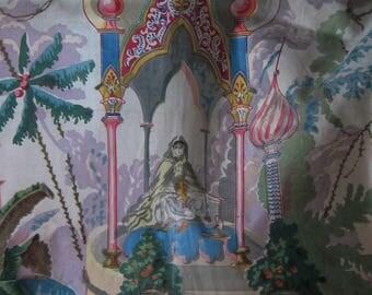 Antique wonderful 19th C. French Floral Cotton Chintz Print Fabric