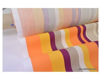 Demi natté coton rayures multi-couleurs orange