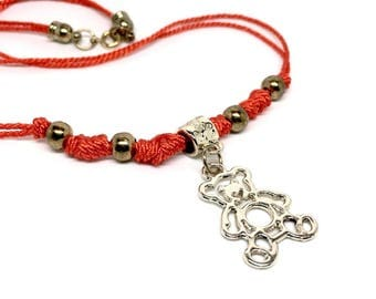 Women's Handmade Jewellery Red Necklace with Golden Teddy Bear Pendant. Gift Box Included, Birthday gifts for girls, Women's Jewelry