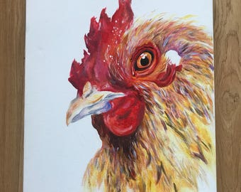 Rooster original acrylic painting farmhouse style