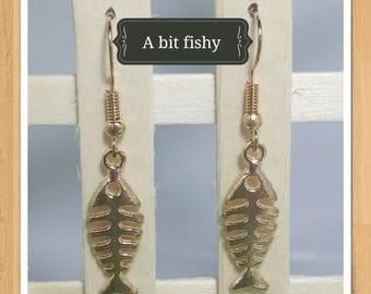 GOLD FISH BONE earrings