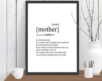 MOTHER Dictionary Definition Quote Print, Wall Art, Room Decor, Modern, Poster, Gift for Her A4 A3 A2 8x10 11x14 12x18 16x20